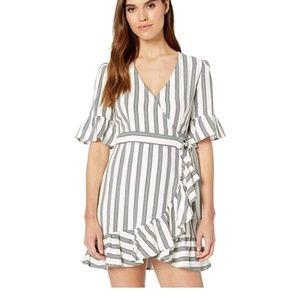 1.STATE Flounce Sleeve Regancy Stripe Wrap Dress